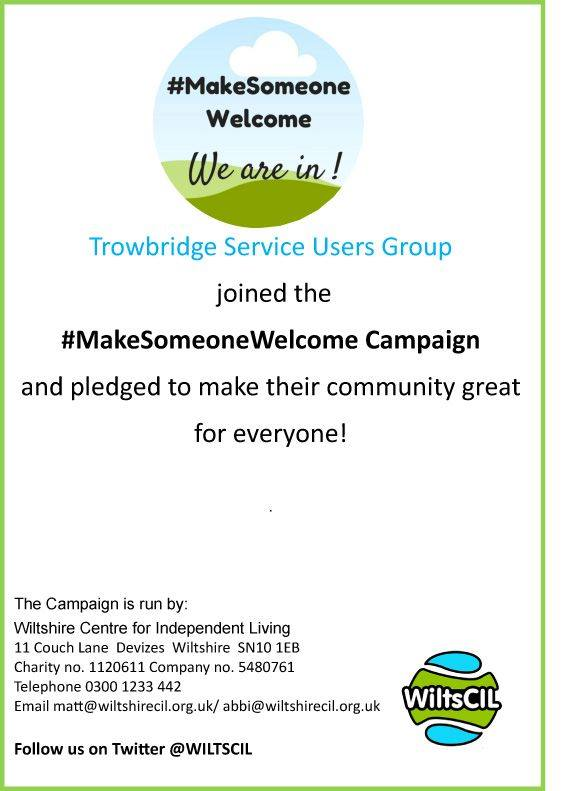 #MakeSomeoneWelcome Wiltshire Centre for Independent Living We just receive our Make Someone welcome certificate #mentalhealth #trowbridge