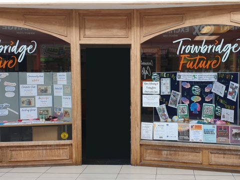 Trowbridge Future window display displaying our information