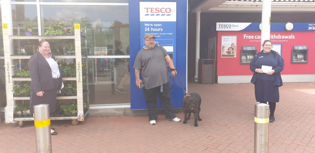 Collecting Tesco Trowbridge donation to Trowbridge Service Users group